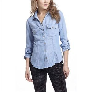 Cloth & Stone Lyocell Chambray Roll Tab Button Top